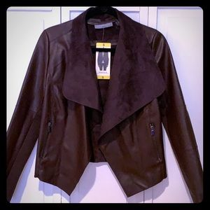 Faux Leather Jacket (Wine)